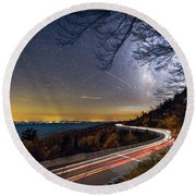 The Linn Cove Viaduct Milky Way Light Trails Round Beach Towel