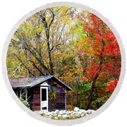 Round Beach Towel featuring the photograph The Little Country Cottage by Dora Sofia Caputo Photographic Art and Design