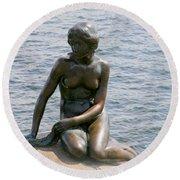 Round Beach Towel featuring the photograph The Little Mermaid Of Copenhagen by Victoria Harrington