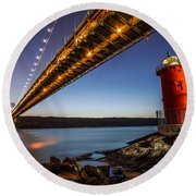 The Little Red Lighthouse Round Beach Towel by Mihai Andritoiu