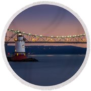 The Little White Lighthouse Round Beach Towel by Mihai Andritoiu