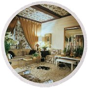 The Living Room Of Leoda De Mar's Home Round Beach Towel