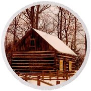 The Log Cabin At Old Mission Point Round Beach Towel