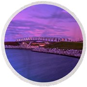 The Lonely Bridge Round Beach Towel by Jonah  Anderson