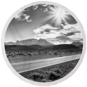Round Beach Towel featuring the photograph The Lonely Road by Howard Salmon