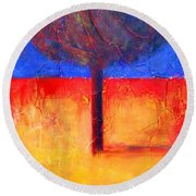 The Lonely Tree In Autumn Round Beach Towel