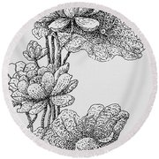 The Lotus Flower Round Beach Towel