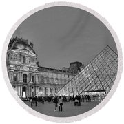 The Louvre Black And White Round Beach Towel by Allen Beatty