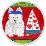 Round Beach Towel featuring the painting The Love Boat by Diane Pape