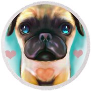 The Love Pug Round Beach Towel