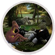 The Luncheon On The Grass With Dinosaurs Round Beach Towel