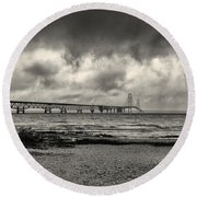 The Mackinac Bridge B W Round Beach Towel