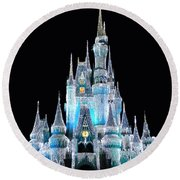 The Magic Kingdom Castle In Frosty Light Blue Walt Disney World Round Beach Towel by Thomas Woolworth