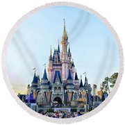 The Magic Kingdom Castle On A Beautiful Summer Day Horizontal Round Beach Towel by Thomas Woolworth