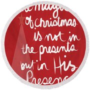 The Magic Of Christmas- Greeting Card Round Beach Towel