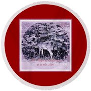 Round Beach Towel featuring the photograph The Magic Of Christmastime In A Woodland II by Kimberlee Baxter
