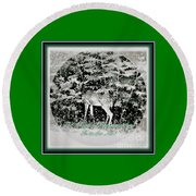 Round Beach Towel featuring the photograph The Magic Of Christmastime In A Woodland by Kimberlee Baxter