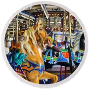 The Magical Machine - Carousel Round Beach Towel