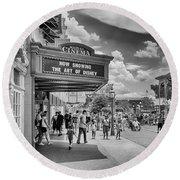 Round Beach Towel featuring the photograph The Main Street Cinema by Howard Salmon