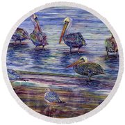 The Majestic Pelican Visit Round Beach Towel