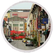 Round Beach Towel featuring the photograph The Majestic Theater Chinatown Singapore by Imran Ahmed