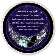 The Man In The Moon Round Beach Towel