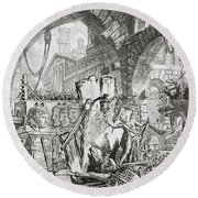 The Man On The Rack Plate II From Carceri D'invenzione Round Beach Towel by Giovanni Battista Piranesi