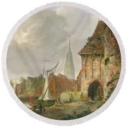 The March Gate In Buxtehude Round Beach Towel