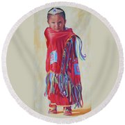 The March Of Red Butterfly Round Beach Towel