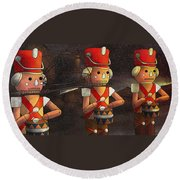 The March Of The Wooden Soldiers Round Beach Towel by Reynold Jay