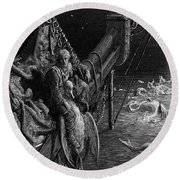 The Mariner Gazes On The Serpents In The Ocean Round Beach Towel