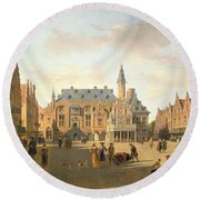 The Market Place With The Raadhuis, Haarlem, 17th Century Round Beach Towel