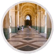 Round Beach Towel featuring the photograph The Massive Colonnades At The Hassan II Mosque Sour Jdid Casablanca Morocco by Ralph A  Ledergerber-Photography