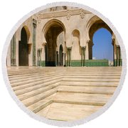 Round Beach Towel featuring the photograph The Massive Colonnades Leading To The Hassan II Mosque Sour Jdid Casablanca Morocco by Ralph A  Ledergerber-Photography