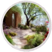 The Meditative Garden  Round Beach Towel by Colleen Taylor
