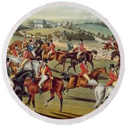 'the Meet' Plate I From 'fox Hunting' Round Beach Towel