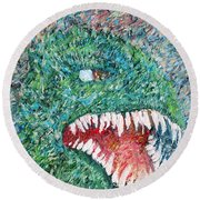 The Might That Came Upon The Earth To Bless - Godzilla Portrait Round Beach Towel by Fabrizio Cassetta