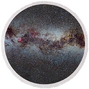 The Milky Way From Scorpio And Antares To Perseus Round Beach Towel