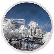 The Mirage In Infrared 1 Round Beach Towel
