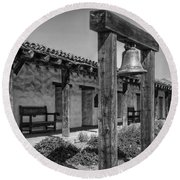 The Mission Bell B/w Round Beach Towel