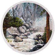 The Mist At Bridalveil Falls Round Beach Towel