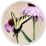 Round Beach Towel featuring the photograph The Swallowtail by Trina  Ansel