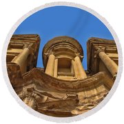 Round Beach Towel featuring the photograph The Monastery In Petra by David Gleeson