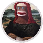 Round Beach Towel featuring the painting The Monkey Lisa by Randol Burns