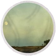 The Moon Above The Trees Round Beach Towel
