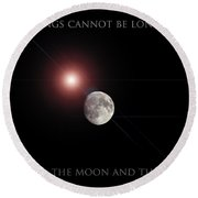 Round Beach Towel featuring the photograph The Moon by Pennie  McCracken