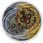Round Beach Towel featuring the tapestry - textile The Moon's Eclipse by Apanaki Temitayo M