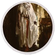 Round Beach Towel featuring the painting The Moorish Chief by Eduard Charlemont