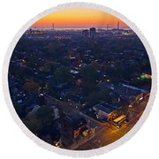 Round Beach Towel featuring the photograph The Morning Bus by Keith Armstrong