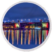 Morrison Bridge Reflections Round Beach Towel by Thom Zehrfeld